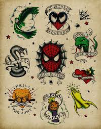 spiderman vintage tattoo flash sheet andy pitts for the