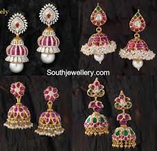 buttalu earrings ruby jhumkis jewellery designs