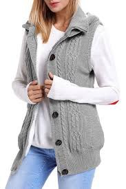 sweater vest womens grey cable knit hooded sweater vest mb27665 1011 modeshe com