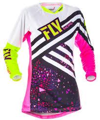 women motocross gear women u0027s kinetic neon pink hi vis jersey fly racing motocross