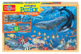 amazon com t s shure ocean life 4 large puzzles in a wooden box