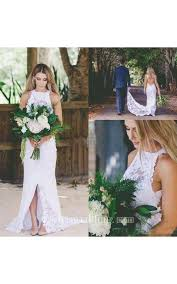 lace backless wedding dress bohemian high neck front split simple lace backless