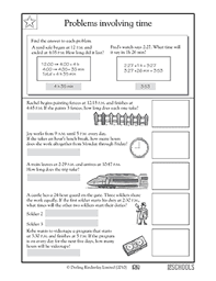 4th grade math worksheets problems involving time greatschools