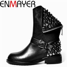 comfortable motorcycle riding boots enmayer new female cool motorcycle boots fashion simple zipper boots