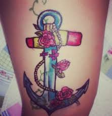 elegant anchor tattoo with flowers tattooshunt com