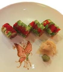 ad hoc cuisine ad hoc butterfly painting to adorn plate of godzilla roll from