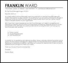 Resume For Fast Food Food Service Manager Cover Letter