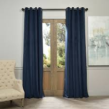 eff exclusive fabrics midnight blue grommet velvet blackout curtain panel 108 inch