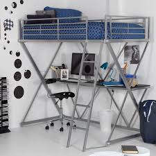 furniture grey metal bunk bed with desk and ladder having