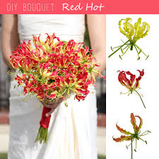 Lily Bouquet Diy Bouquet Red Gloriosa Lily Bouquet Fiftyflowers The Blog