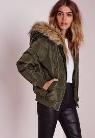 missguided padded faux fur hood jacket khaki in green lyst