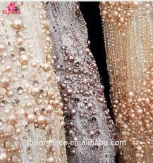 Wedding Dress Material 2017 Wedding Dress Fabric 3d Pearls Handwork Heavy Beaded French