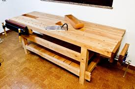 furniture cozy craftsman workbench with oak wood material on cozy