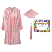 pink cap and gown pre k kindergarten cap gown tassel and diploma certificate set