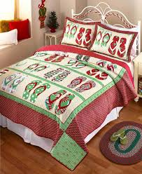holiday bedding set ebay flip flop holiday christmas quilt bedding coastal beach print bedroom home decor