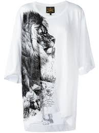 lion print vivienne westwood anglomania lion print t shirt 9100 optical white