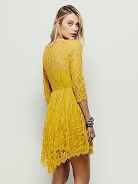 dress for women u2013 free people floral mesh lace dress mustard