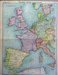 West Europe Map 19 Print 1920 Western Europe Communications Colour 012a199 Old