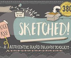 sketched hand drawn graphic toolkit design cuts