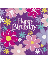 Serviette En Papier Fleur by 16 Serviettes En Papier Happy Birthday Fleurs 33 X 33 Cm