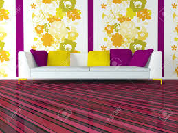 bright interior design of modern pink living room with big white