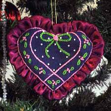 embroidered ribbon tree ornaments