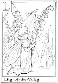 print letter l for lily of the valley flower fairy coloring page