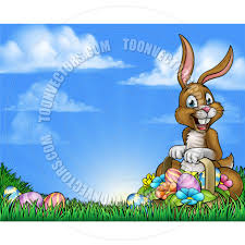 easter bunny and eggs background by geoimages toon vectors eps