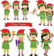 christmas elves christmas elves helpers of santa claus vector stock vector