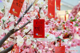 wishing tree cards lunar new year wishes made by shoppers in beijing china org cn