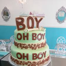 boy oh boy mint green and brown baby shower cake