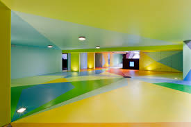 inside garage house design with colorful paint low ceiling and