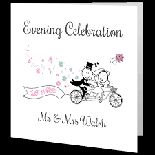 Just Married Cards Wedding Evening Invite Just Married 140mm X 140mm Wedding