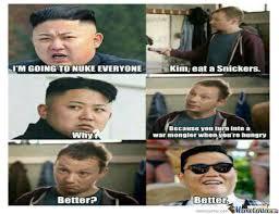Kim Jong Un Snickers Meme - kim jong un eats a snickers turns into gangnam style s psy