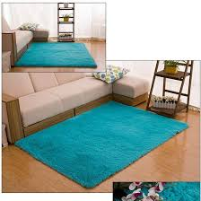 Teal Floor Rug 80 120cm Large Size Fluffy Rugs Anti Skid Shaggy Area Rug Dining