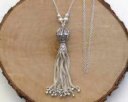 silver tassel long necklace images Tassel jewelry etsy jpg