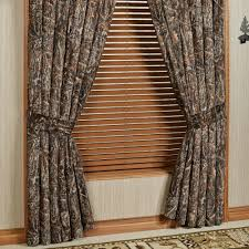 Short Wide Window Curtains by Conceal Brown Rustic Camo Quilted Bedspread Bedding