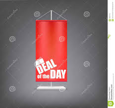Red Flag Day Deal Of The Day Vertical Red Flag At The Pillar Stock Vector