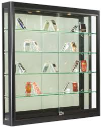 Wall Display Cabinet With Glass Doors 3x3 Wall Mounted Display W Slider Doors Mirror Back
