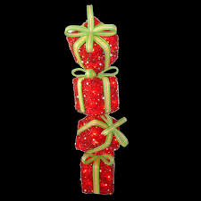 national tree company 34 in red tinsel gift stack with 50 clear