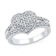 diamond heart ring 1 4 ct t w princess cut diamond heart ring in sterling silver