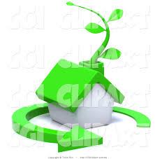 clip art of a 3d green eco friendly house with a vine in the