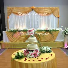 Wedding Backdrop Gold New Beautiful White Curtain With Gold Swag Pleated Ready Made