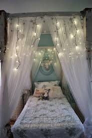 whimsical kids bedroom decorations with sheer bed canopy and