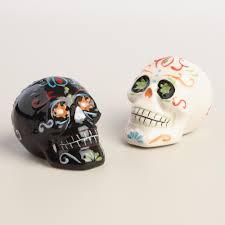los muertos salt and pepper shaker set white ceramics tabletop