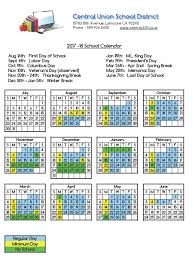 thanksgiving day calendar district calendar 2017 18 central union district
