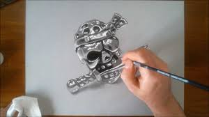 speed drawing pirate skull how to draw 3d art youtube