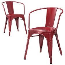 Red Metal Chair Carlisle Metal Dining Chair Distressed Metal Set Of 2 Target