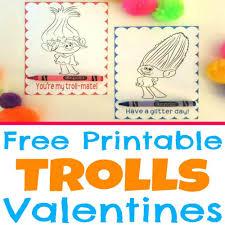 free printable trolls movie valentine coloring cards simple made
