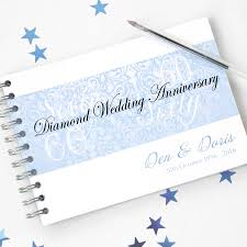 anniversary guest book personalised diamond wedding anniversary guestbook by amanda